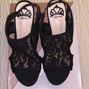 FERGALICIOUS by Fergie Black Lace Strap Wedge.